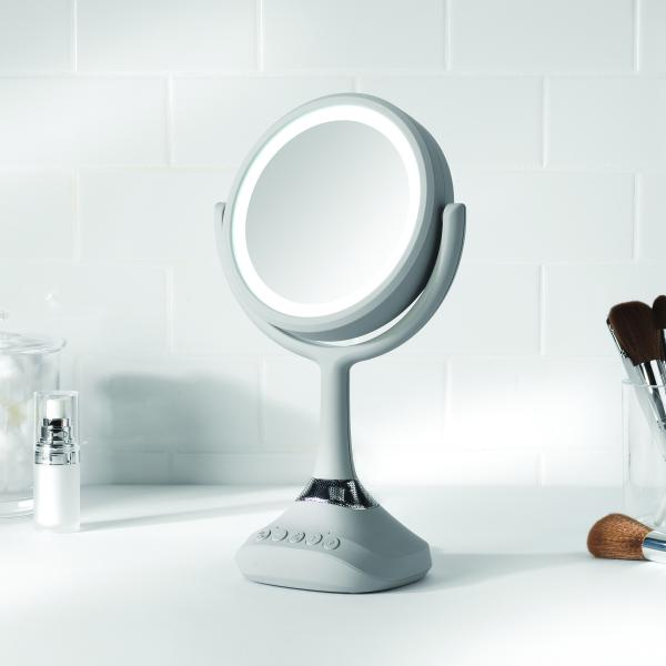 Personal Makeup Mirror with LED light and Bluetooth Speaker - Chrome Finish