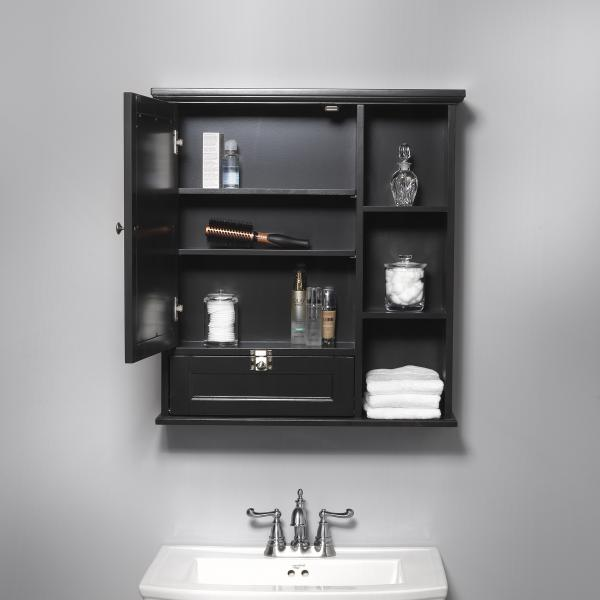 Bath Storage - Medicine Cabinet with Mirror Door - Espresso Finish
