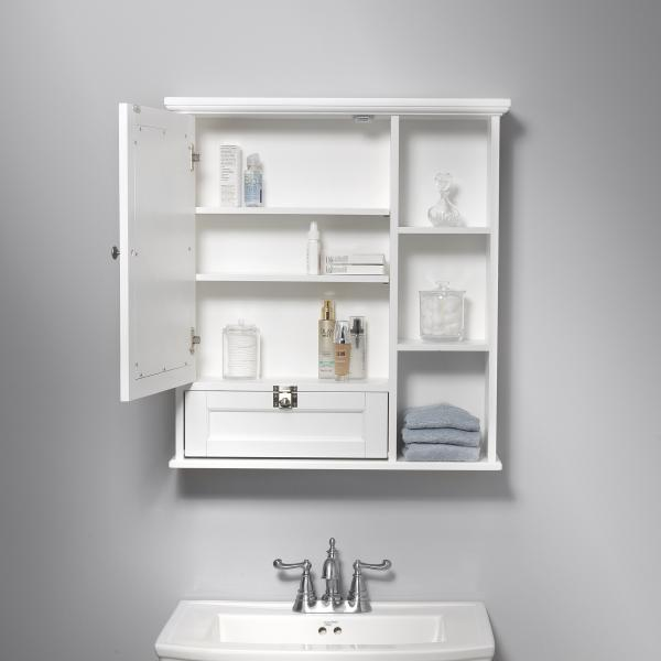 Bath Storage - Medicine Cabinet with Mirror Door - White Finish