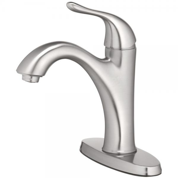 "Lavatory Faucet Single Handle 4 "", 1 Hole Install with Push Pop Up Brushed Nickel"