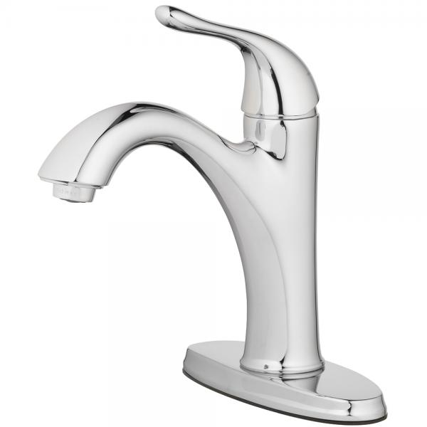 "Lavatory Faucet Single Handle 4 "", 1 Hole Install with Push Pop Up Chrome"