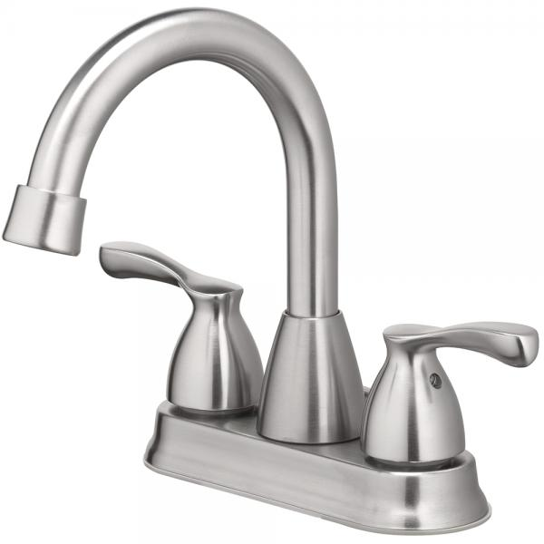 "Lavatory Faucet Two Handle 4 "" Center, with Pop Up & Lift Rod Brushed Nickel"