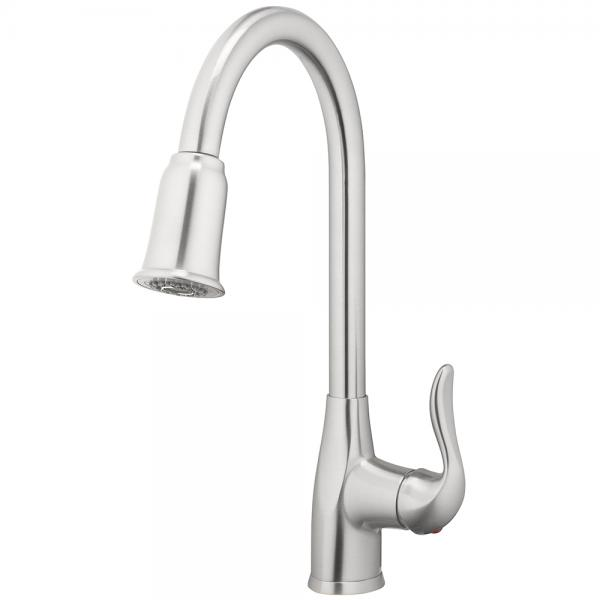 Kitchen Faucet  Deck Mount Single Handle Pull Down  Spray 1 Hole Install Brushed Nickel