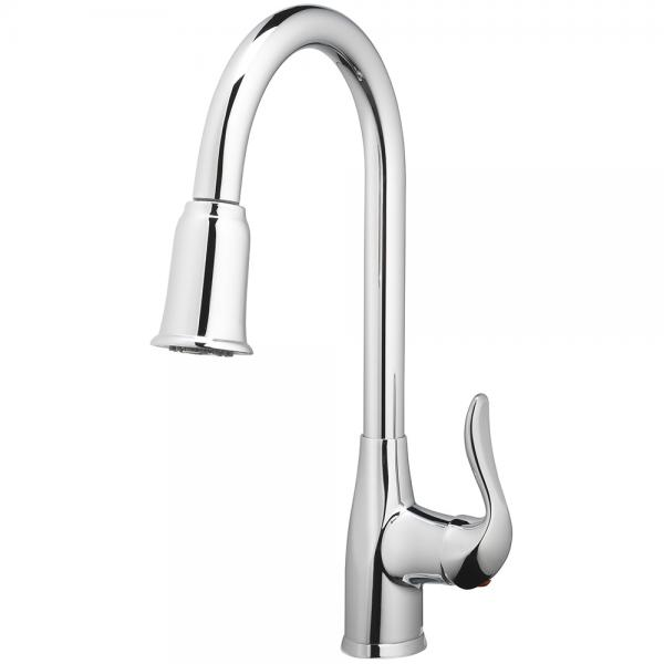 Kitchen Faucet  Deck Mount Single Handle Pull Down  Spray 1 Hole Install Chrome