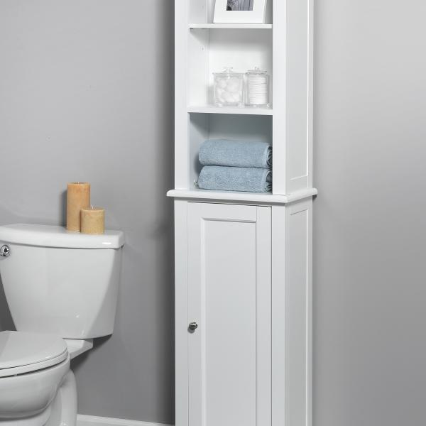 Bath Storage - Linen Tower with Quick Snap - White Finish