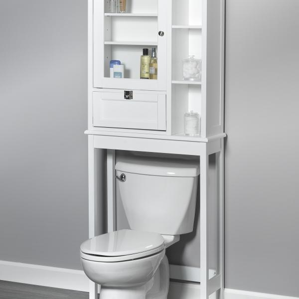 Bath Storage - Space Saver with Mirror Door with Quick Snap - White Finish