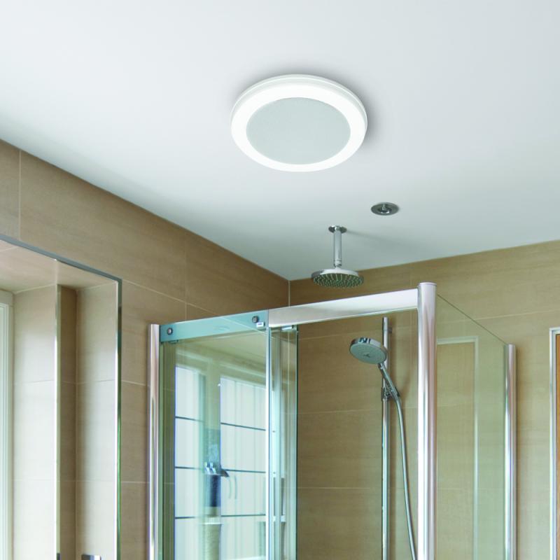 100CFM Bathroom Exhaust Fan Bluetooth Audio Speaker LED Light White//Blue Remote
